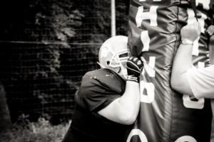 Football Player Learning Blocking Skills